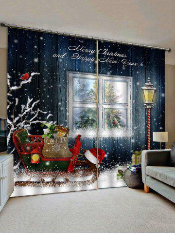 2 Panels Christmas Sleigh Gift Print Window Curtains