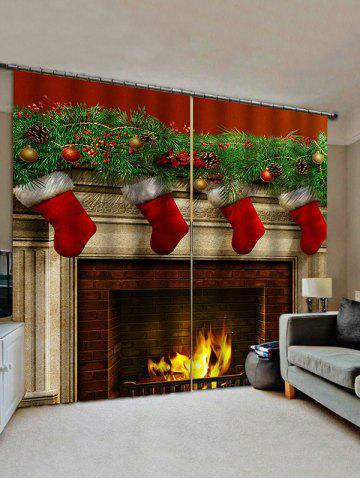 2 Panels Christmas Fireplace Stockings Print Window Curtains - MULTI - W33.5 X L79 INCH X 2PCS