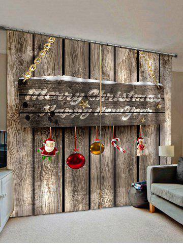 2 Panels Christmas Greeting Wooden Board Print Window Curtains