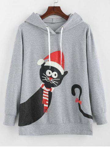 Plus Size Tunic Cat Print Christmas Hoodie