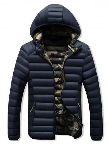 Camo Lined Zip Up Puffer Jacket