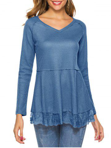 Plain V Neck Lace Hem Knitwear