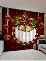 2 Panels Christmas Bells and Balls Print Window Curtains -