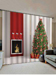 2 Panels Christmas Tree Gift Fireplace Print Window Curtains -
