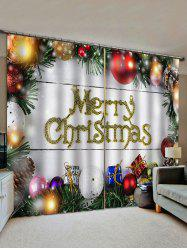2 Panels Christmas Balls and Gifts Window Curtains -