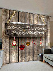 2 Panels Christmas Greeting Wooden Board Print Window Curtains -