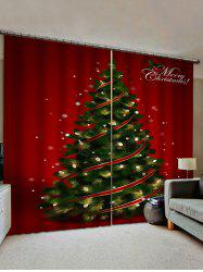 2 Panels Christmas Tree Lights Print Window Curtains -