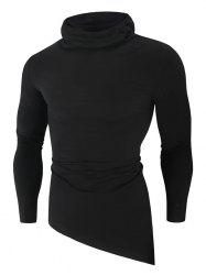 Solid Color High Low Long Sleeve Hooded T-shirt -