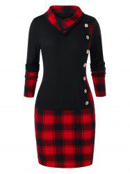Plus Size Plaid Panel Button Bodycon Dress -