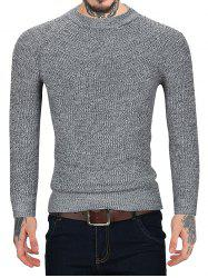 Pull Style Simple Manches Longues à Col Rond - Gris 2XL