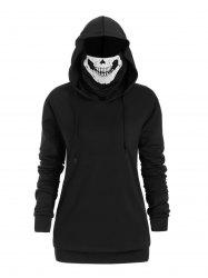 Plus Size Halloween Drawstring Skull Mask Hoodie -