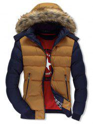 Two Tone Zip Up Fuzzy Hooded Down Coat -