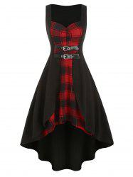 Plaid Buckle Dip Hem Sleeveless Dress -