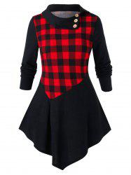 Plus Size Checked Panel Tunic Turn-down Collar T Shirt -