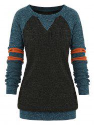 Plus Size Striped Colorblock Heathered Sweatshirt -