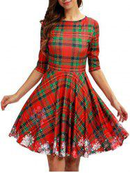Plaid Snowflake Christmas Round Neck Dress -