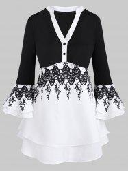Two Buttoned Flare Sleeve Layered Printed Plus Size Blouse -
