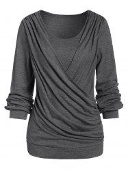 Space Dye Round Collar Long Sleeve T Shirt -