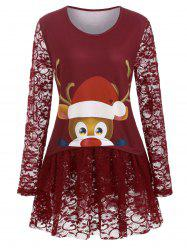 Longline Lace Panel Cartoon Elk Print Christmas Plus Size Top -