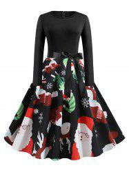 Long Sleeve Belted Christmas Elk Snowflake Print Plus Size Dress -