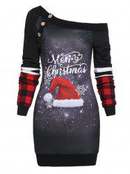Skew Neck Hat Print Christmas Dress -