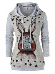 Plus Size Cartoon Oreille Lapin Imprimé Graphic Hoodie - Gris 2X