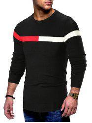 Color Spliced Casual Long-sleeved Sweater -