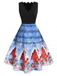 Plus Size High Waist Fit And Flare Printed Christmas Dress -