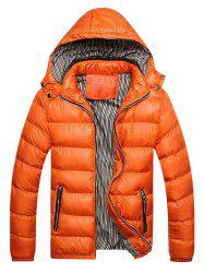 Contrast Trim Hooded Padded Jacket -
