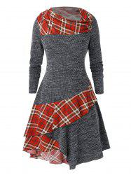 Plus Size Plaid Ruffle Mixed Media A Robe ligne -