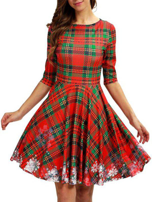 Sale Plaid Snowflake Christmas Round Neck Dress