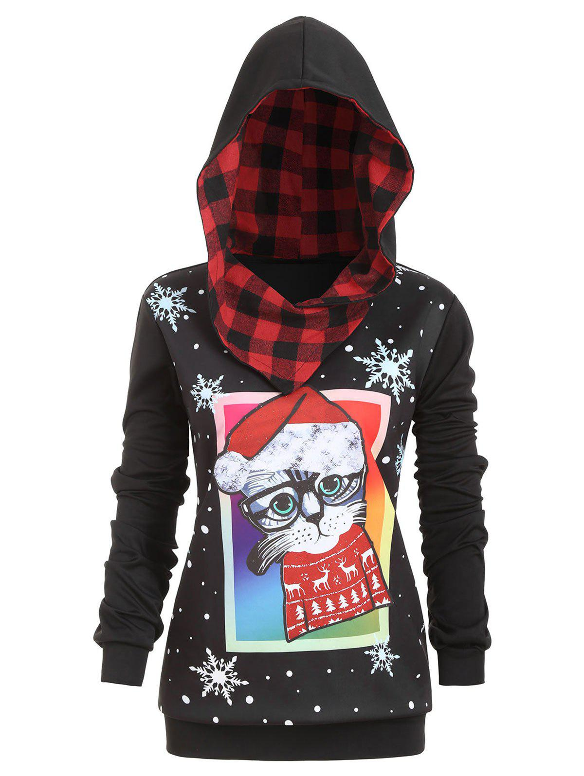 Buy Plus Size Christmas Cat Snowflake Print Hoodie