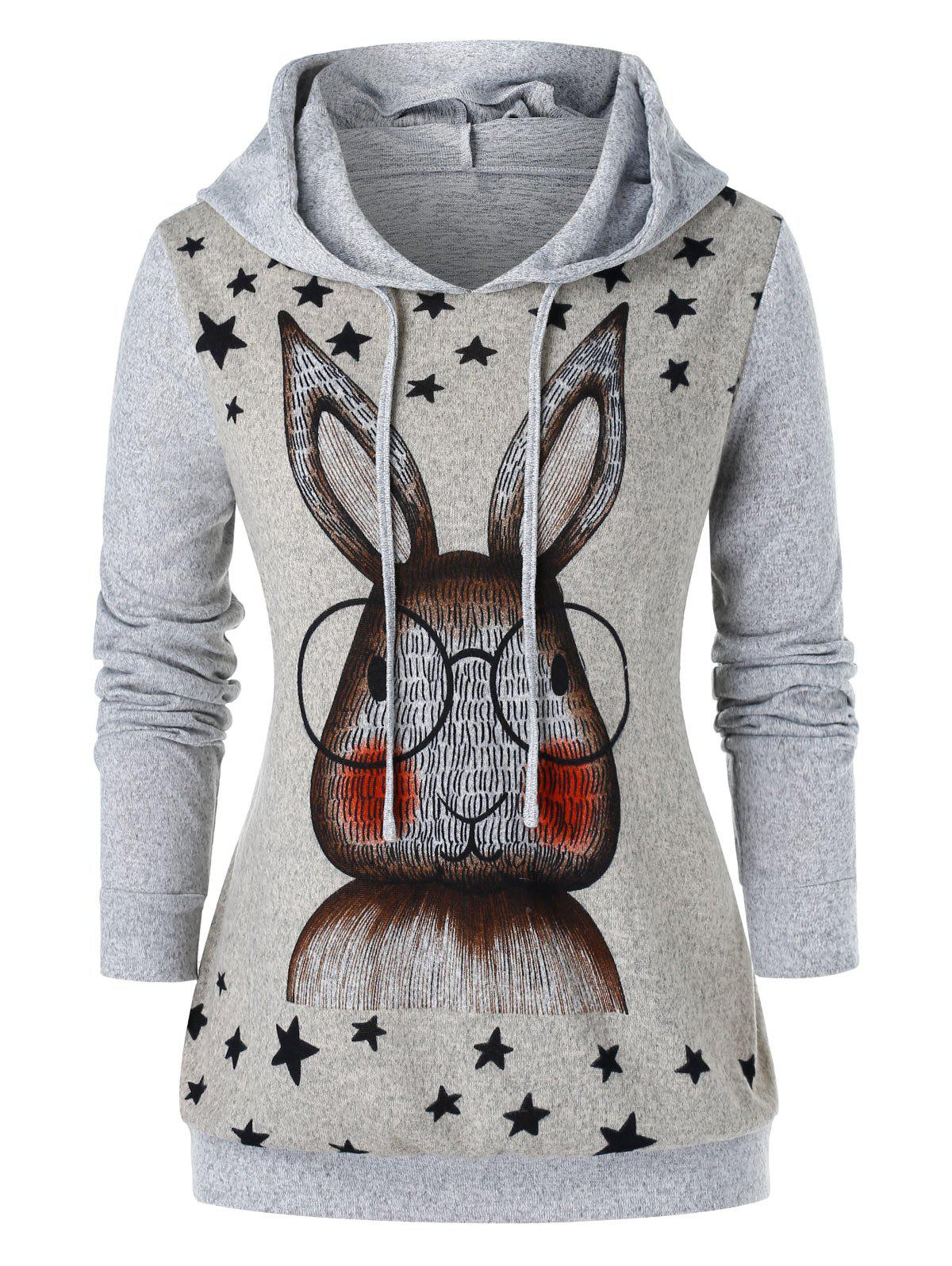 Unique Plus Size Cartoon Ear Rabbit Printed Graphic Hoodie