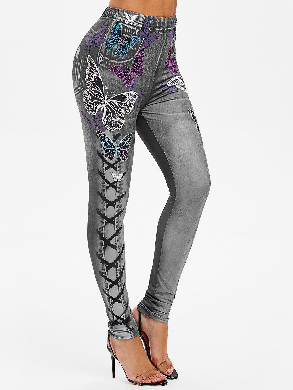 Outfits High Rise Butterfly Print Jeggings