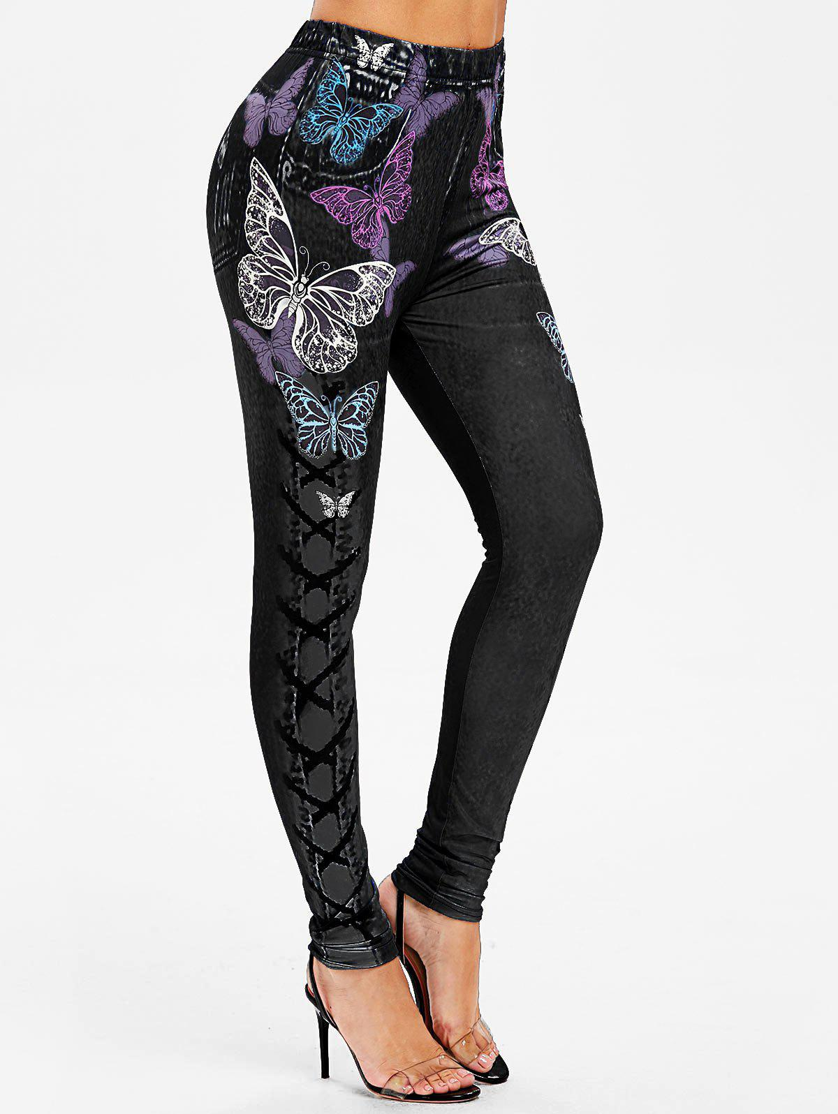 Chic High Rise Butterfly Print Jeggings
