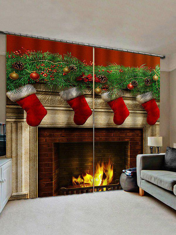 Chic 2 Panels Christmas Fireplace Stockings Print Window Curtains