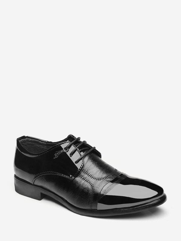 Fashion Patent Leather Panel Lace Up Work Shoes