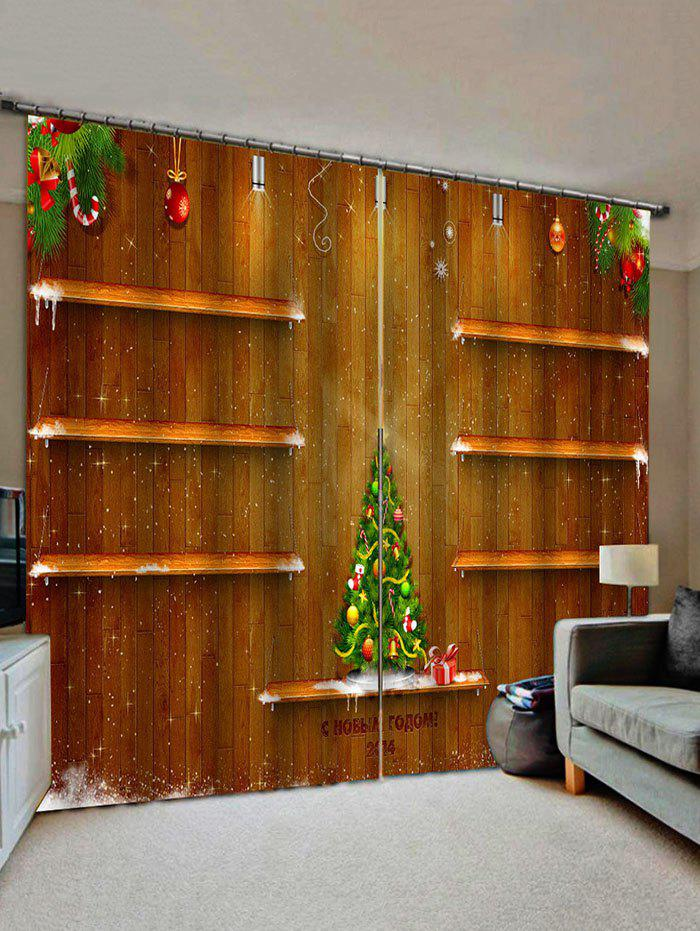 Cheap 2 Panels Christmas Tree Wood Wall Print Window Curtains