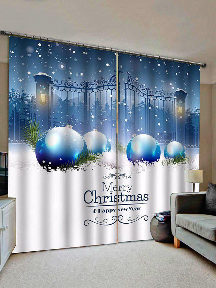 Discount 2 Panels Christmas Ball Gate Print Window Curtains