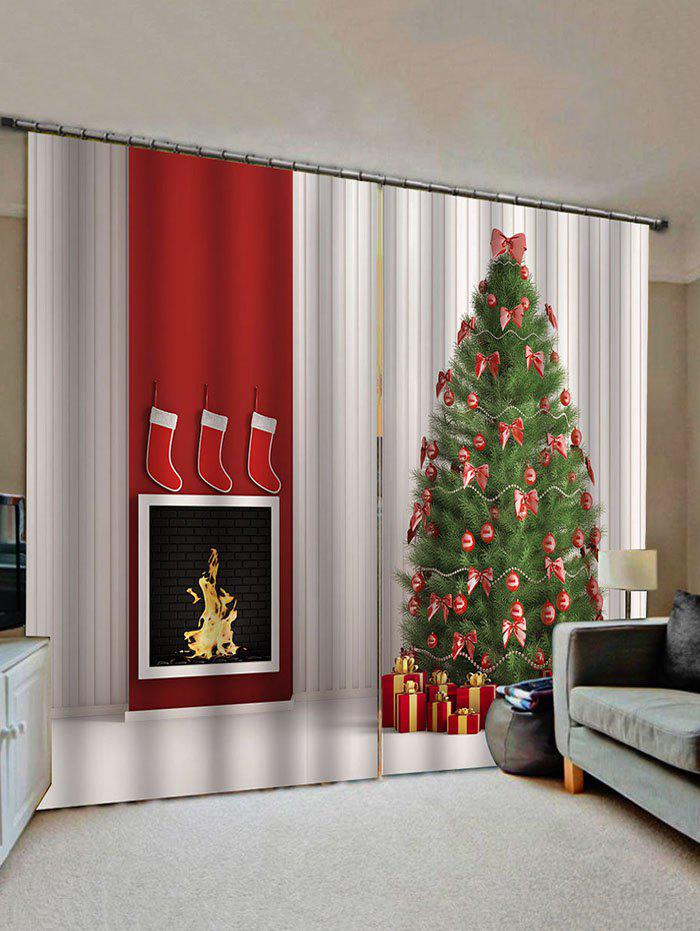 Discount 2 Panels Christmas Tree Gift Fireplace Print Window Curtains