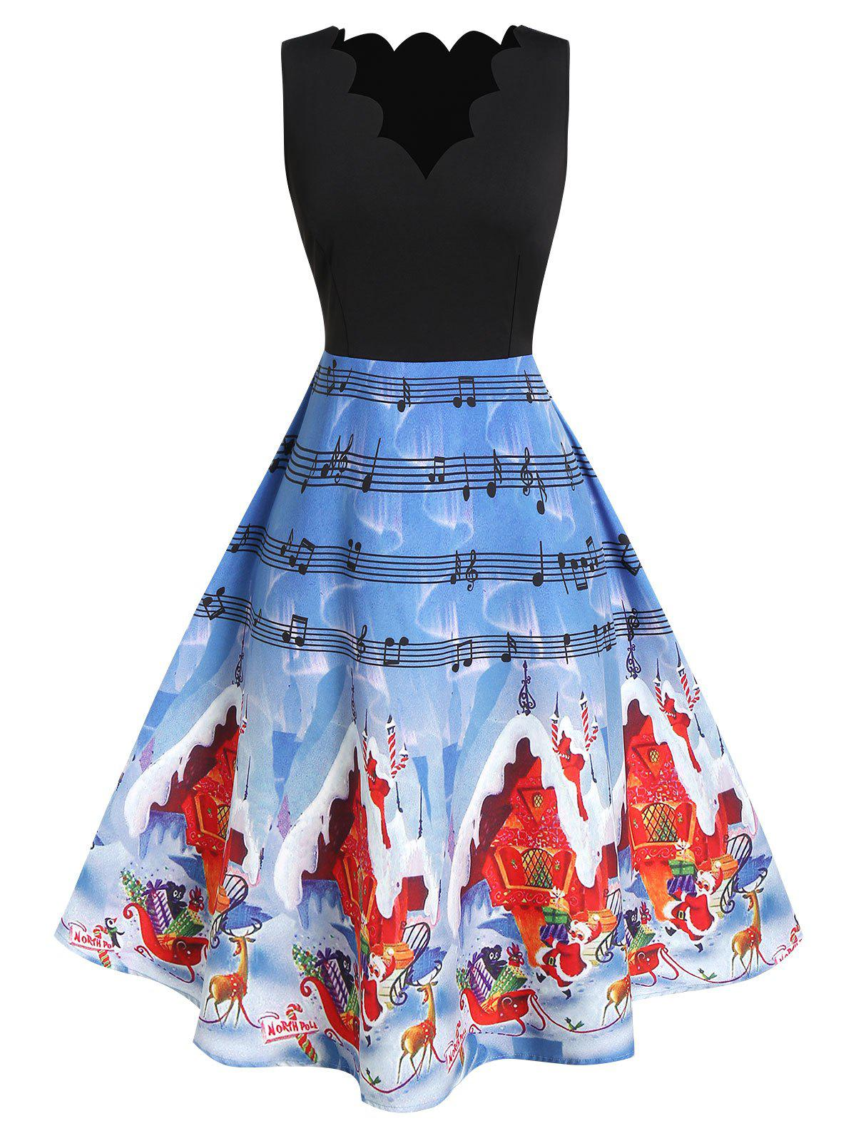 Cheap Plus Size High Waist Fit And Flare Printed Christmas Dress