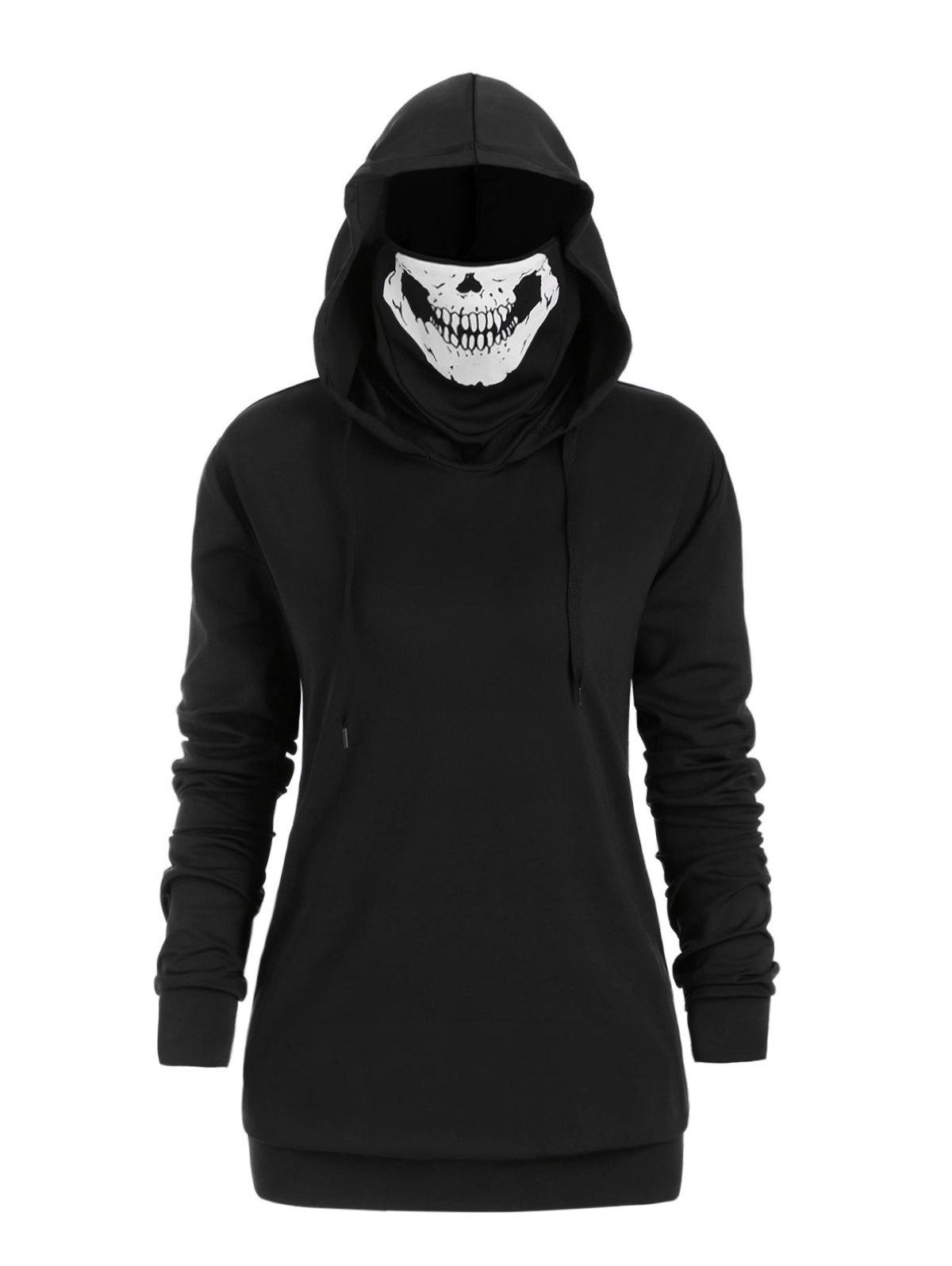 Latest Plus Size Halloween Drawstring Skull Mask Hoodie