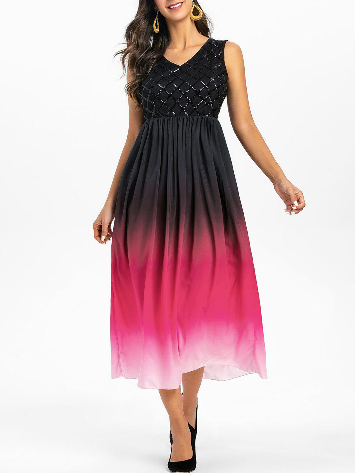 Fashion Sequin Insert Sleeveless Ombre Prom Dress