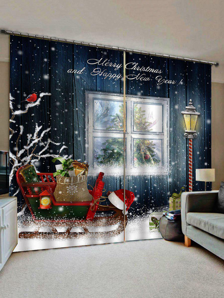 New 2 Panels Christmas Sleigh Gift Print Window Curtains