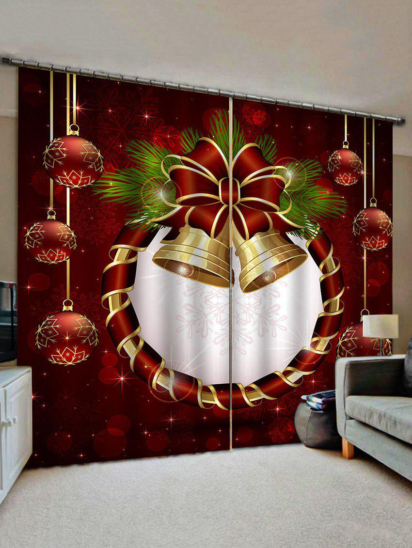 Trendy 2 Panels Christmas Bells and Balls Print Window Curtains