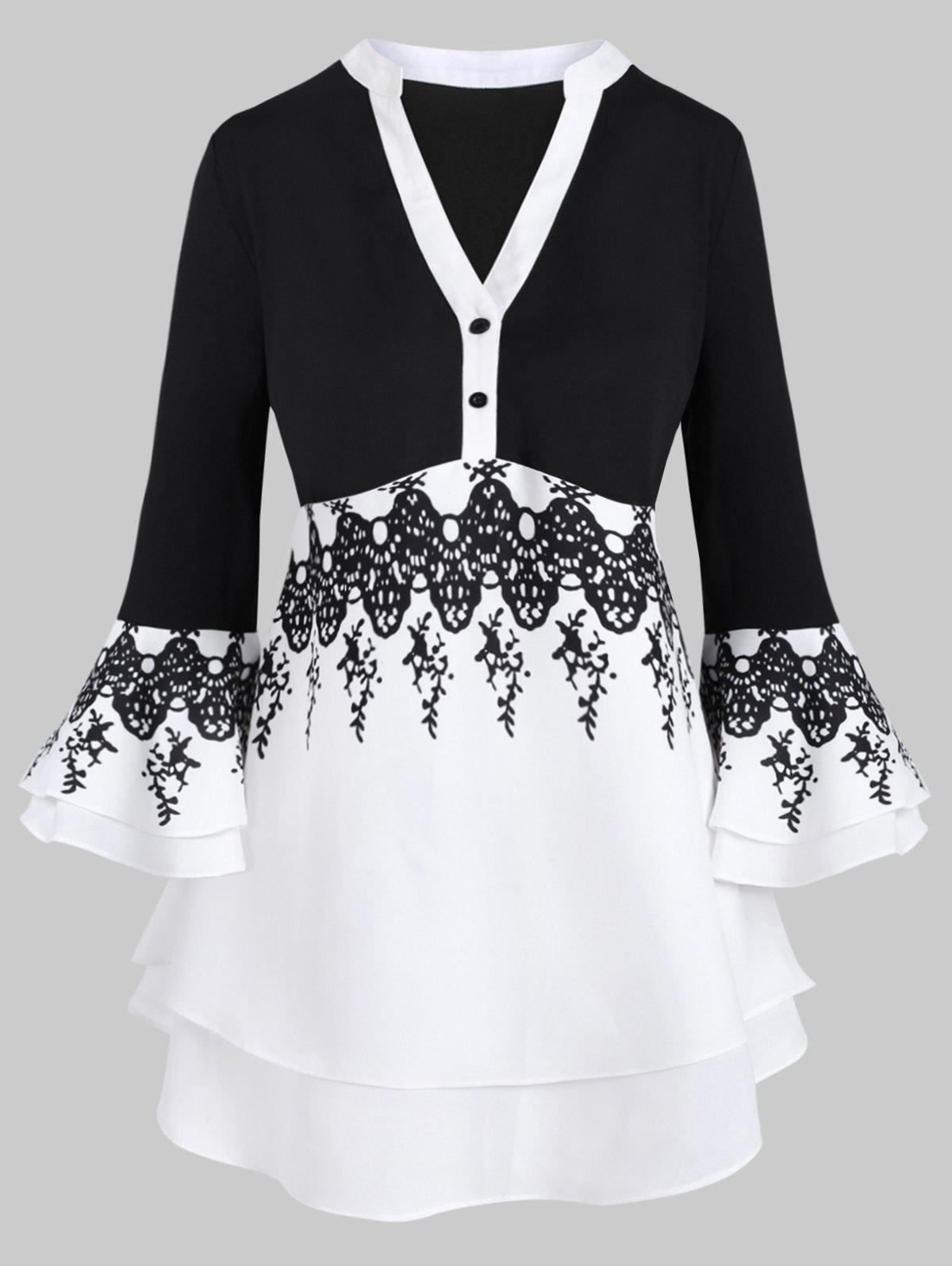Cheap Two Buttoned Flare Sleeve Layered Printed Plus Size Blouse