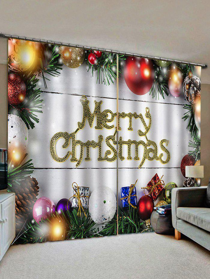 New 2 Panels Christmas Balls and Gifts Window Curtains