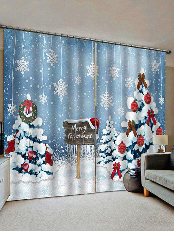 Buy 2 Panels Christmas Trees Snowflake Print Window Curtains