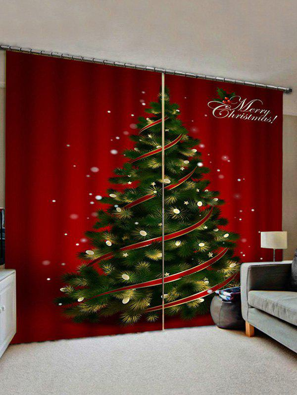 Affordable 2 Panels Christmas Tree Lights Print Window Curtains