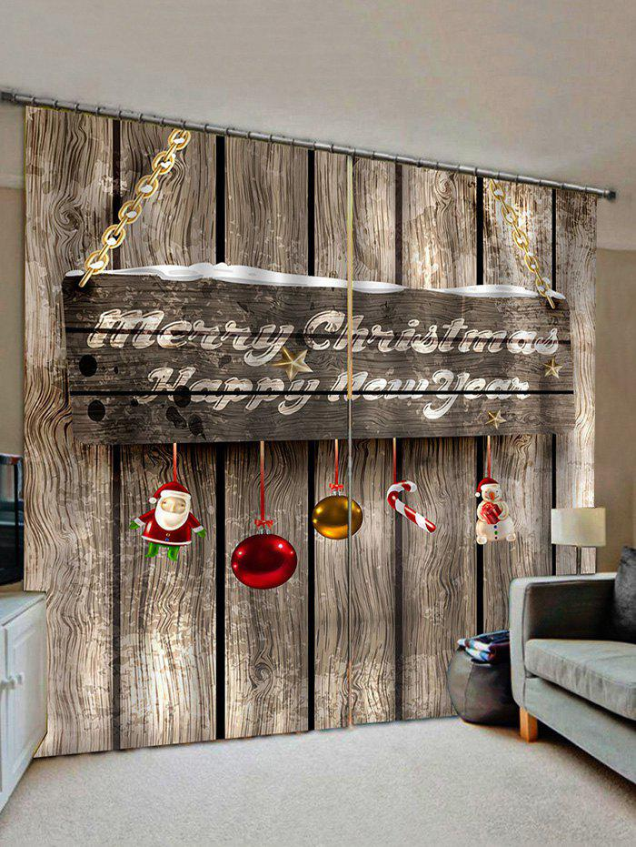Hot 2 Panels Christmas Greeting Wooden Board Print Window Curtains
